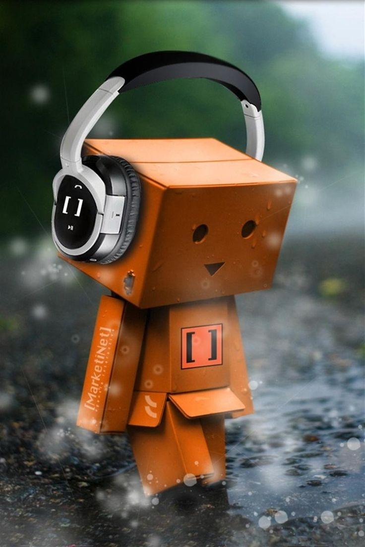 Sad Robot Box Listening To Music