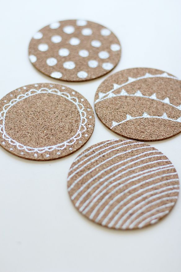 customized coasters. buy blank cork coasters (amazon) and draw on designs with a paint pen.