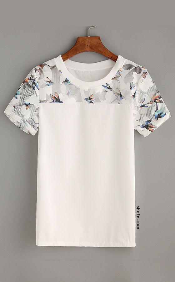 White Bird Print Mesh Insert Top