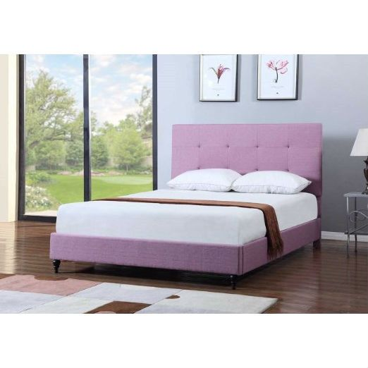 twin size purple linen upholstered platform bed frame with headboard