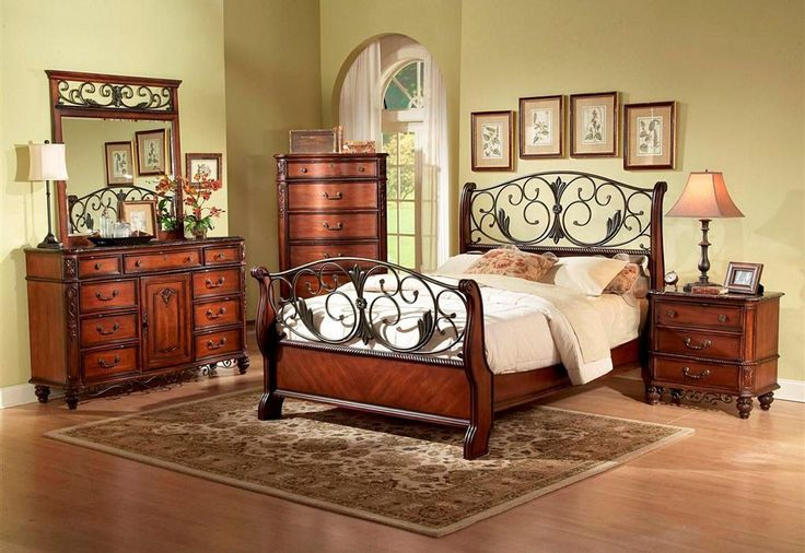 Fairfax Home Furnishings Tuscany 4-piece Sleigh Bedroom Set in Rich Brown - 3290 by 1StopBedrooms | Buy Bedroom Furniture Sets | Free Delivery