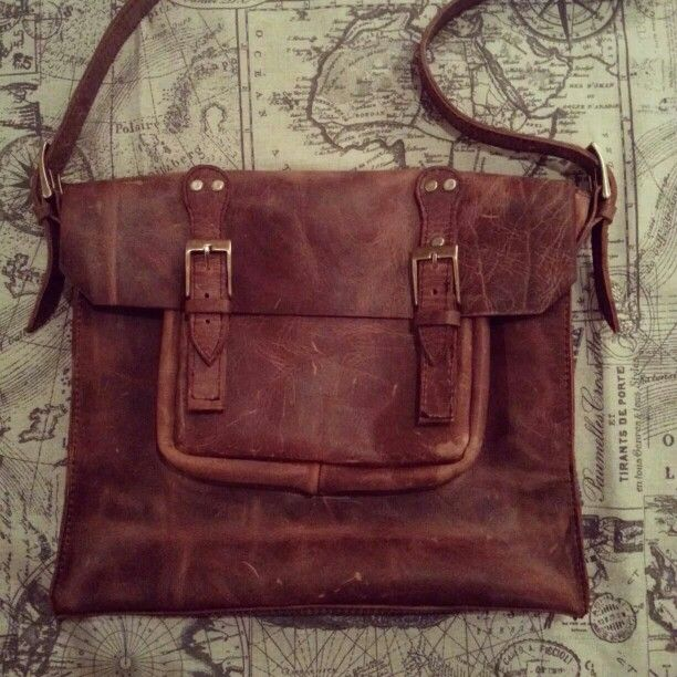 NavyHeart Laptop bag in brown leather