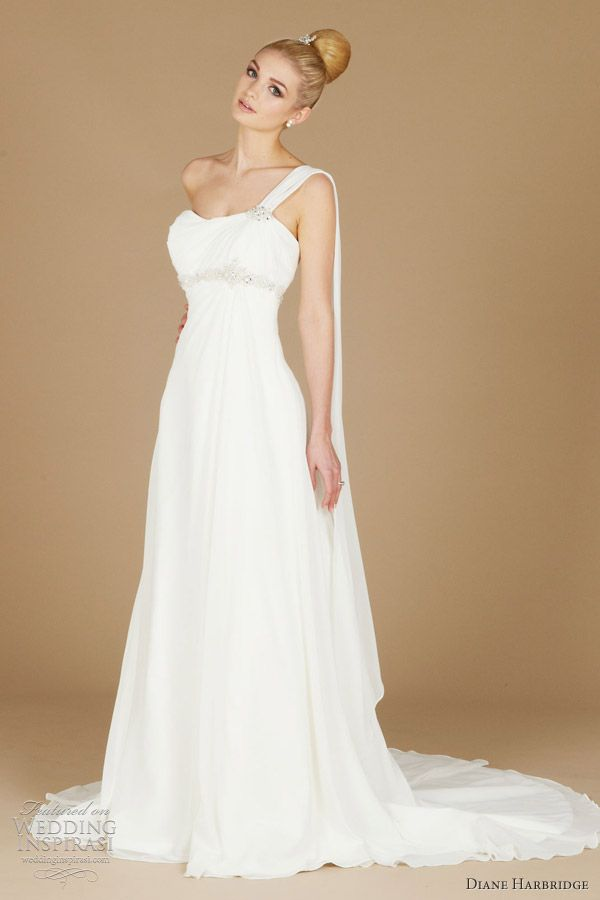 Diane Harbridge Bridal Gown Claire Grecian Inspired Chiffon With One Shoulder