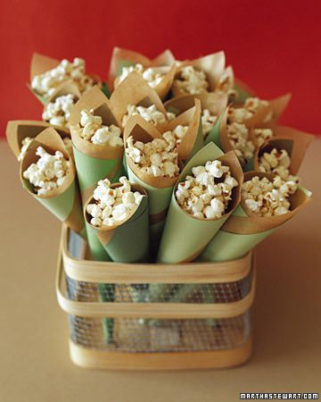 Popcorn cones: regular popcorn or that pretty old-fashioned pink popcorn... or some of each!