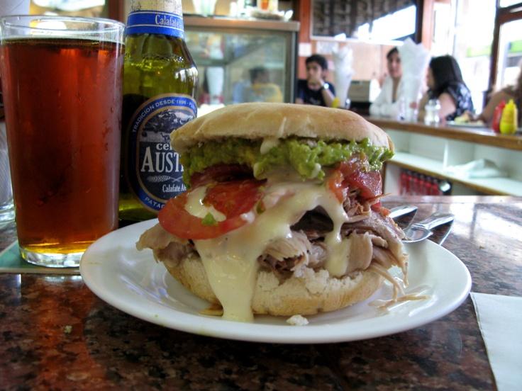 pork sandwich, avacado, tomato, lettuce on a ciabatta bun with Austral Lager - El Fuente Aleman, Santiago, Chile