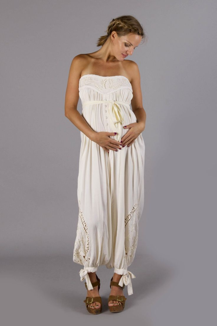 """Zippora Jumpsuit"" maternity bandeau jumpsuit - Cream Fillyboo - Boho inspired maternity clothes online, maternity dresses, maternity tops and maternity jeans."