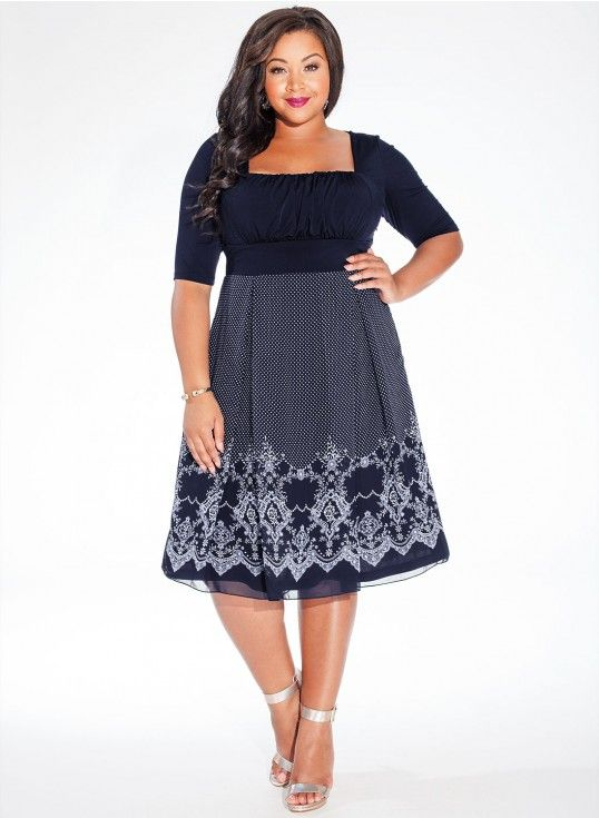 Hayleigh Dress in Midnight Blue.  Love to see models with curves.