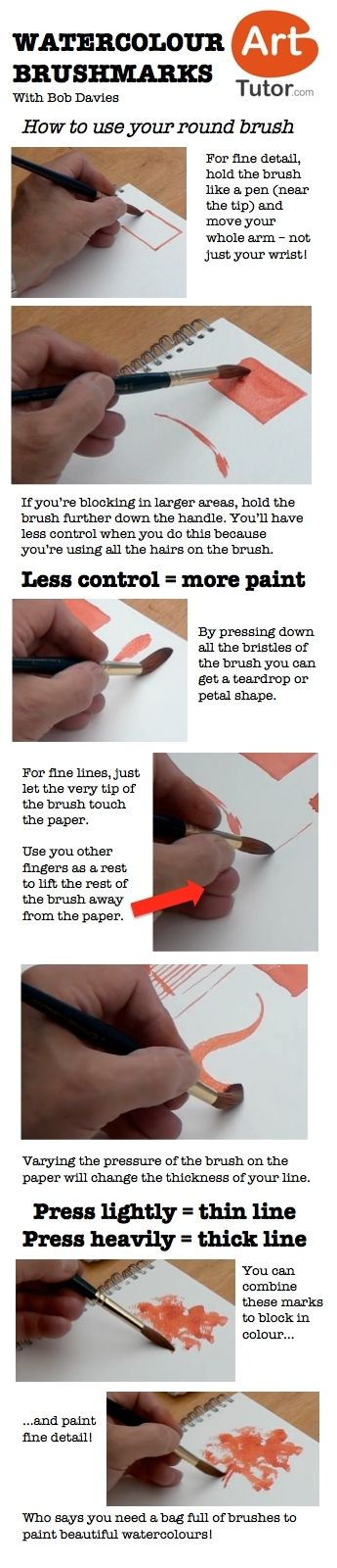How to use your round brush in watercolour. For more watercolour tips and techniques, and to see the video of this lesson, go to www.arttutor.com/blog #watercolour