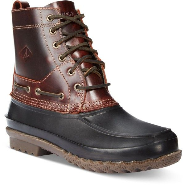 Sperry Men's Decoy Boots ($105) ❤ liked on Polyvore featuring men's fashion, men's shoes, men's boots, dark brown, sperry mens shoes, sperry mens boots, mens boots and mens shoes