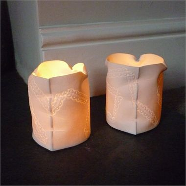 'Lys' Tealight holder by Louise Hall Available at seekandadore.com