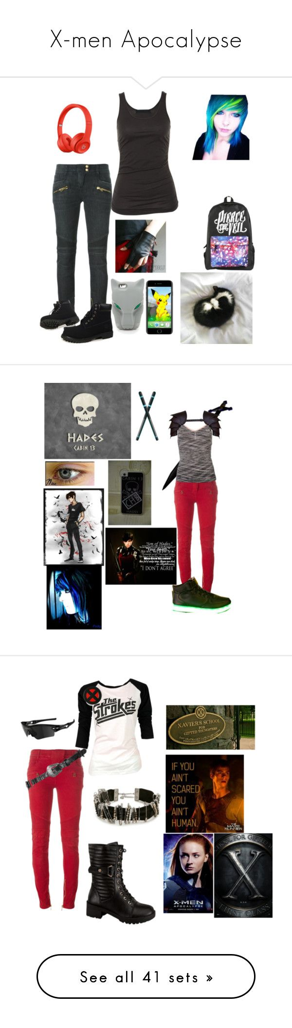 """X-men Apocalypse"" by ironkyle ❤ liked on Polyvore featuring Balmain, Tusnelda Bloch, Timberland, STELLA McCARTNEY, USA Pro, Braun, Nico, Topshop, Marc Jacobs and Wild Diva"