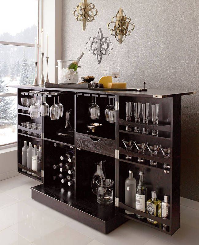 New Steamer Folding Wine Liquor Bar Cabinet In Black