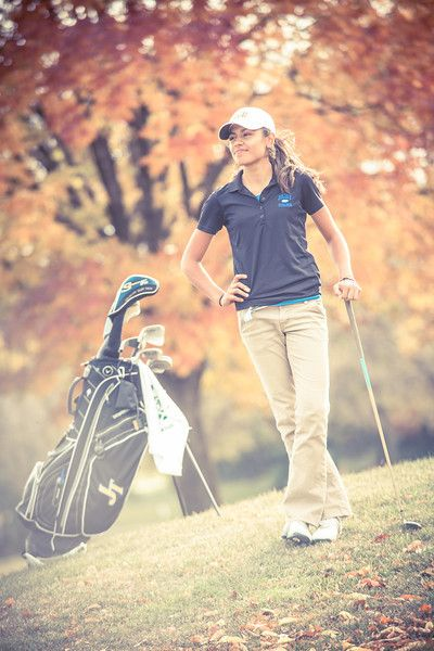 Girl's Autumn Golf Portraits Joliet Central High School - Joliet Senior Photos
