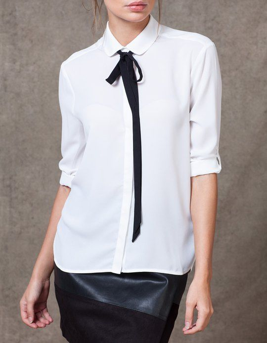 Shirt with tie detail - SHIRTS - WOMAN   Stradivarius Czech Republic
