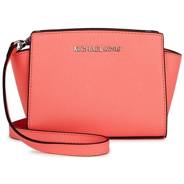 Womens Cross-body Bags Michael Kors Selma Mini Coral Leather... ($220
