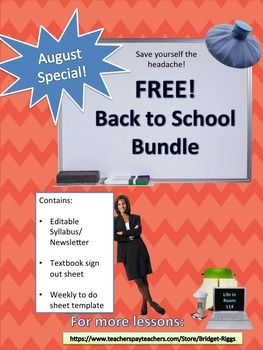 FREE bundle of BACK to SCHOOL Teacher FormsThis bundle includes some basic teacher forms for the beginning of the school year.1)Syllabus/ Newsletter template  magazine style (editable in Word)2)Textbook Sign-Out Form template3)Parent Contact Record template Check out some of my most popular productsGreek Theater & Oedipus Rex.