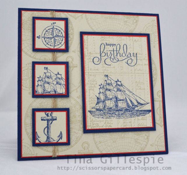 Stampin' Up....use any nautical or fishing theme stamps.