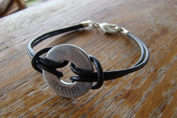 Personalized Mens Leather and Washer Bracelet Unisex Womens