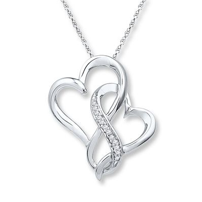Two hearts curve together to form an infinity symbol as the centerpiece of this captivating necklace for her. Diamonds totaling 1/20 carat in weight add sparkle to the sterling silver necklace. The pendant is suspended from an 18-inch rope chain that fastens with a spring ring clasp. Diamond Total Carat Weight may range from .04 - .06 carats.