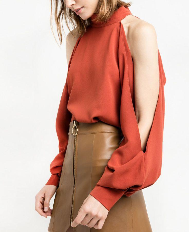 Chiffon Candy Color Split Long Sleeve Split Shirts OL Tops