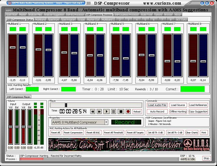 AAMS is windows software for Fully Automatic Audio Mastering. Featuring 100 Band Equalizer, 8 Multiband Compression, Balancing and Loudness settings for internal DSP Processing with all audio corrections automaticly done purely inside the AAMS Program.