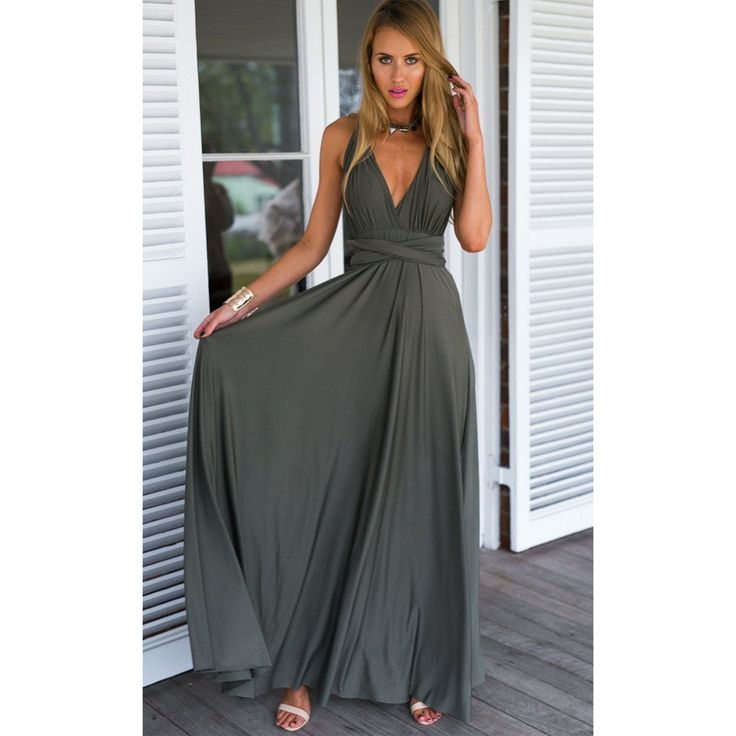 Grey Multi way Convertible Wrap Maxi Dress Dress