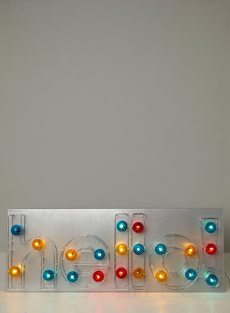 BHS Illuminate Hello Light Marquee Style Sign With Exposed Coloured Bulbs Can Be Wall Mounted