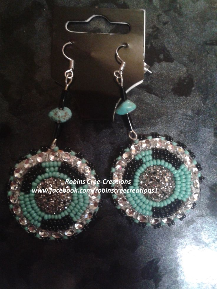 Hand beaded medallion style earrings made by Robin @ Robins Cree-Creations on facebook