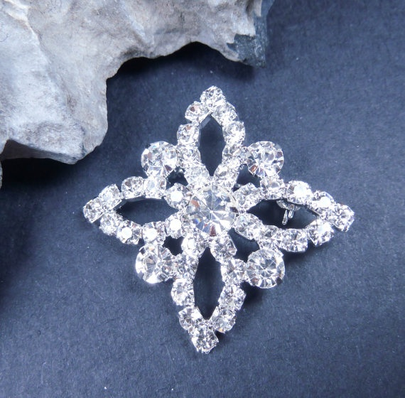 Rhinestone brooch crystal brooch swarovski brooch by Jubiledesign, $30.00