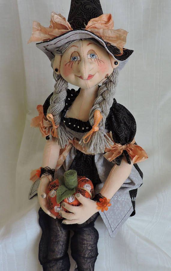 Gray Hair Witch. Patti Culea Mikaela pattern used for body and Terese Cato Tooth Fairy for head (with adjustments). To the top of her hat she is about 20-21 inches when stretched out.