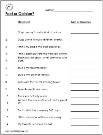 Fact And Opinion Worksheets 5Th Grade Free Worksheets Library ...
