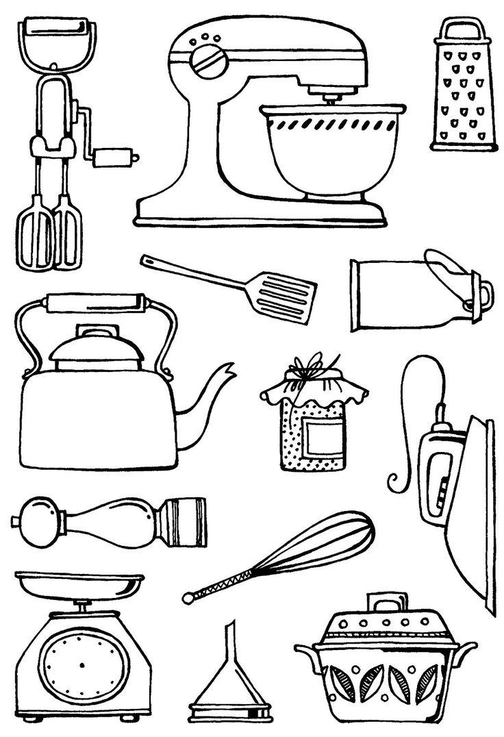 """Sweet Dixie """"fini"""" Cucina-Set di timbri trasparenti, in materiale sintetico, formato A6, colore: trasparente: Amazon.it: Casa e cucina"""