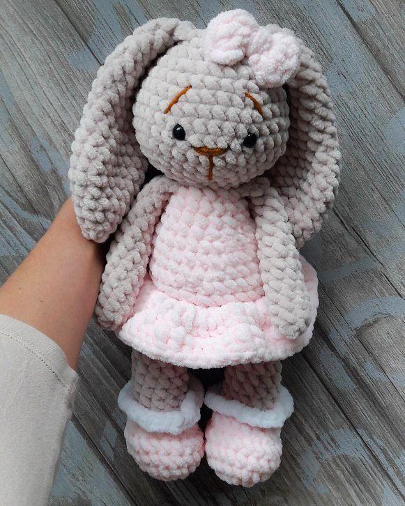 плюшевая зайка бесплатная схема для вязания игрушки Free Amigurumi