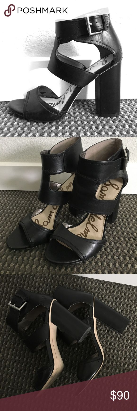 Sam Edelmen: Black pleather heels Black. Fake Leather. Silver buckles. Chunky heels. 4 inches tall. Ankle wrap. Comfortable. Sam Edelman Shoes Heels