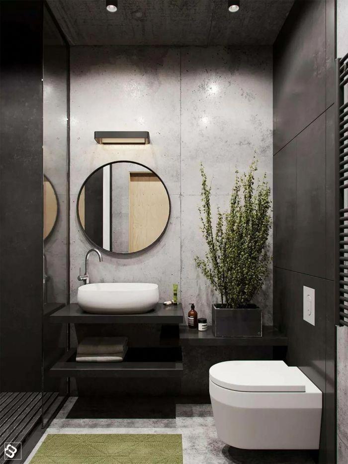 Graues Badezimmer Ein Winziges Badezimmer Mit Deckenleuchte Runder Spiegel Badezimmer Ideen Wohnung Badezimmer Dekoration Badezimmerspiegel Badezimmer Dekor