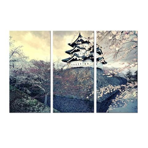 5 Pieces City Sakura Japan Spring Wall Art Modular Canvas