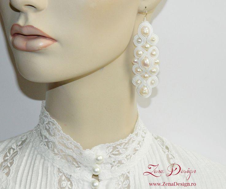 New! Cercei pentru mireasă – cercei cu perle, cercei candelabru, cercei albi – Zena Design