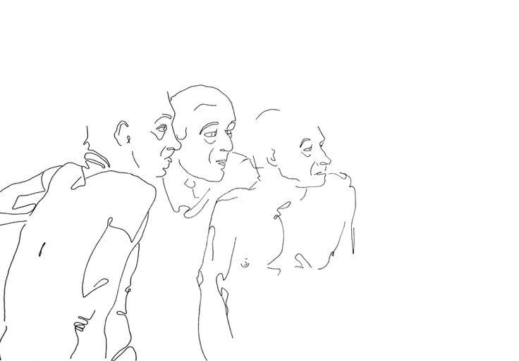 Drie mannen - tekening in viltstift op papier - 30 x 42 cm - Cobi de Jong