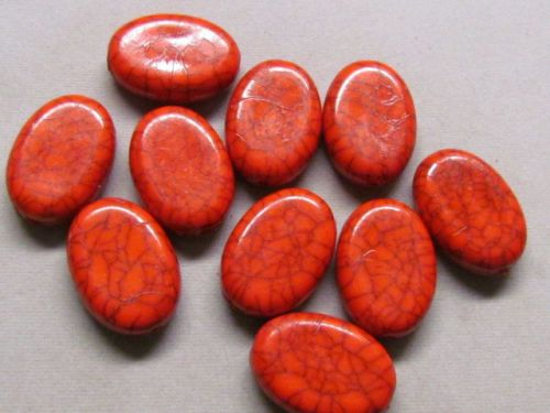 15-Red-Flat-Oval-27x16mm-Acrylic-Beads-K190H13