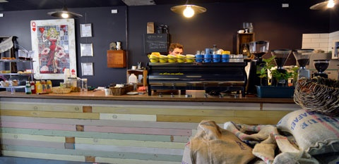 Dramanti Artisan Coffee Roasters, Wynnum. Rustic/eclectic fit out. Amazing coffee.