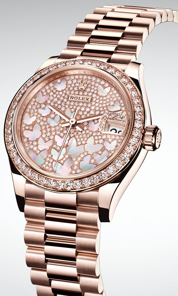48ae9223de8 The new Rolex Datejust 31 is introduced in 18ct Everose gold with a diamond-paved  dial inlaid with pink mother-of-pearl butterflies.