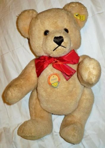 STEIFF-PETSY-TEDDY-BEAR-FAO-SCHWARTZ-0240-38-LIGHT-BROWN-WITH-RED-BOW-TIE