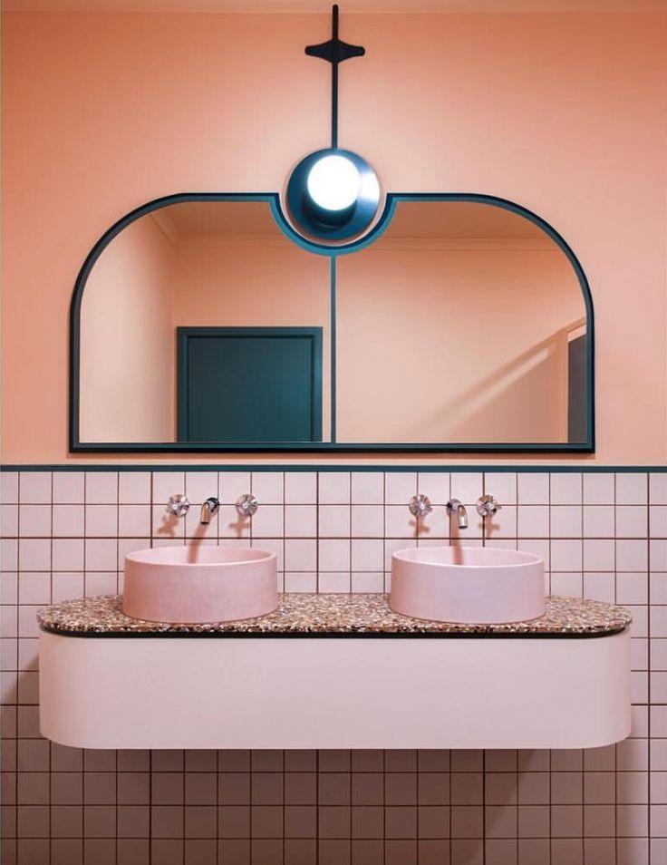 millennial pink bathroom tile I Décor Aid