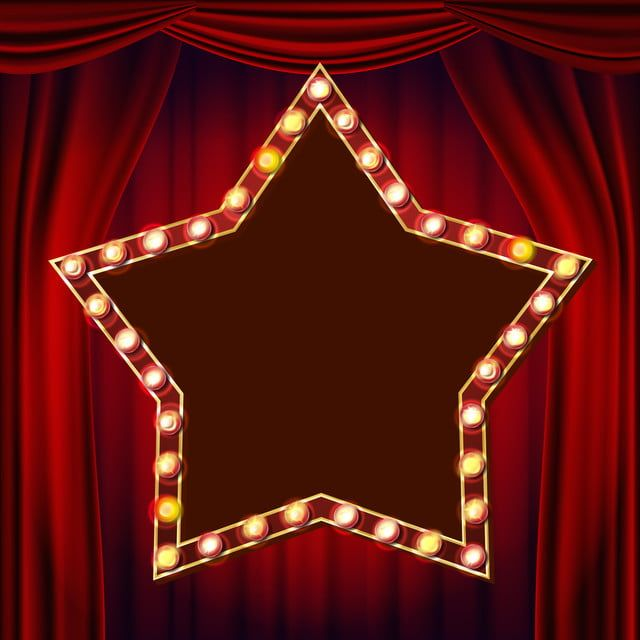 Retro Star Billboard Vector Red Theater Curtain Shining Light Sign Board 3d Electric Glowing Star Element Vintage Golden Illuminated Neon Light Carnival Circus Neon Lighting Theatre Curtains Backdrops Backgrounds