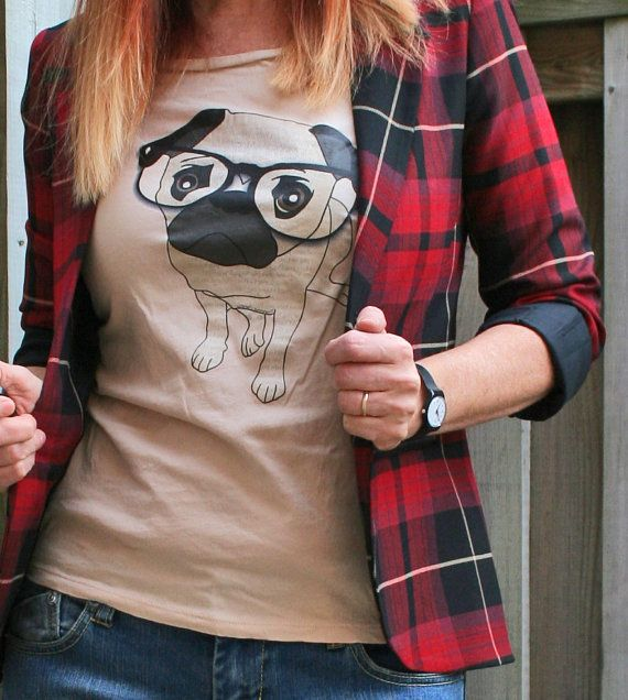 Hey, I found this really awesome Etsy listing at https://www.etsy.com/listing/191984625/pug-shirt-cute-nerd-pug-wearing-glasses