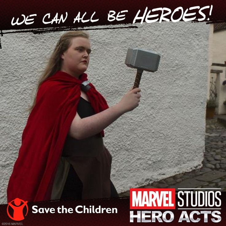 I'm helping to bring hope to kids around the world. Upload a photo at MarvelStudiosHeroActs.com & with every post, #MarvelStudiosHeroActs will donate $5 to @SavetheChildren.