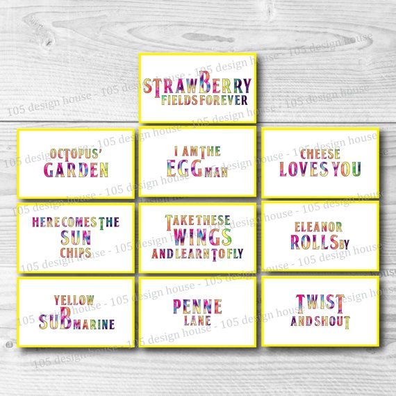 INSTANT DOWNLOAD The Beatles Labels Printable by 105DesignHouse