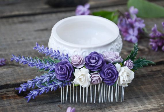 Bridal Hair comb lavender hair comb Wedding  by FaberAccessories