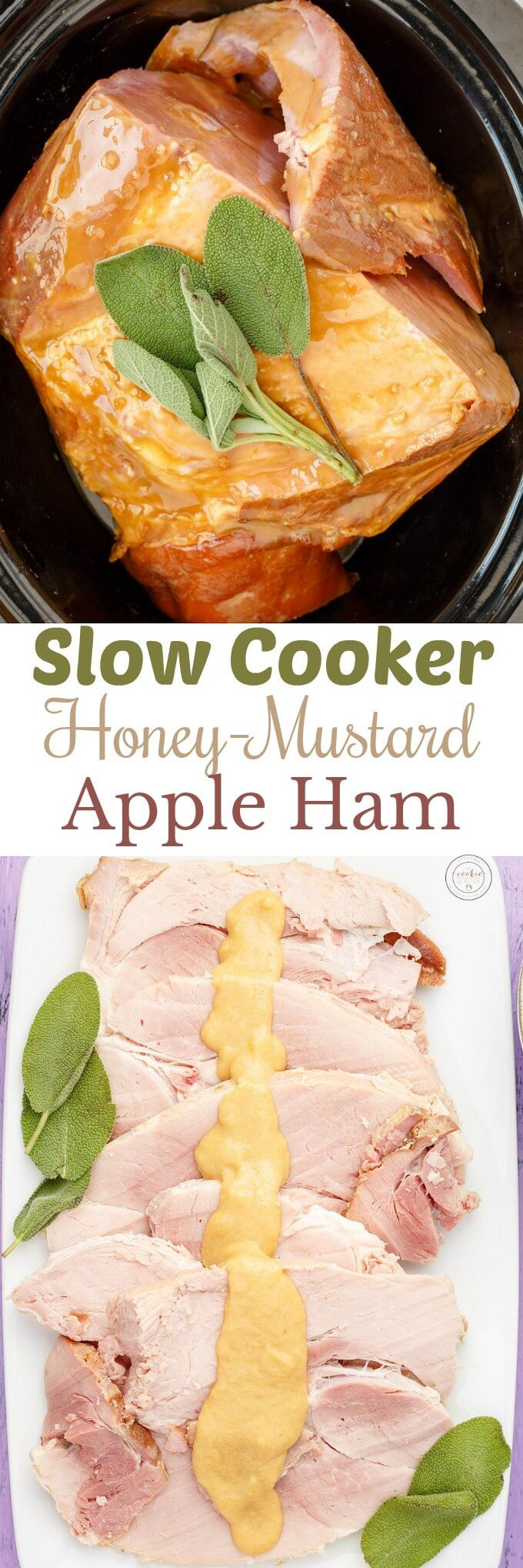 Slow Cooker Honey-Mustard Apple Ham | http://thecookiewriter.com | @thecookiewriter | Easy bone in ham recipe that is completed in the crock pot! No pineapple or brown sugar found here! Completely gluten-free, relatively healthy, and perfect for Thanksgiving, Christmas, and Easter! Plus, use that leftover bone to make soup! Boneless ham will work perfectly here, and the apples are pureed down to make a nice gravy!
