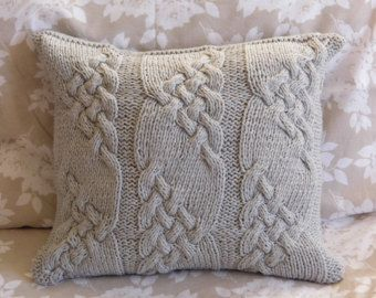 Silver Gray Handmade Cable Knit Pillow cushion